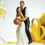 Basketball Dream Team Couple Cake Topper (Dark Skin Tone)