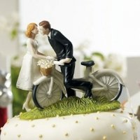 Bicycle Bride and Groom Wedding Couple Cake Topper