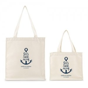 Personalized Sail Away Canvas Tote Bag - Red or Navy Blue image