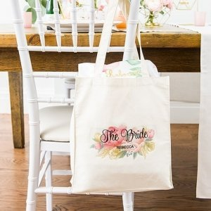 Personalized Modern Floral White Canvas Tote Bag or Mini Tot image