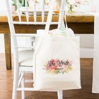 Personalized Modern Floral White Canvas Tote Bag or Mini Tot