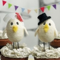 Sweet Tweets Bird Bride and Groom Topper