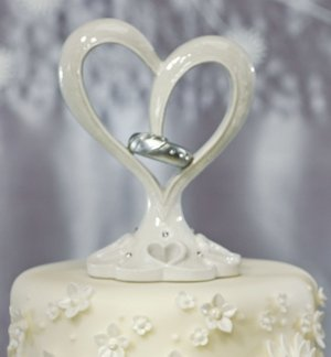Stylized Heart & Wedding Bands Cake Topper image