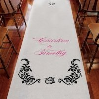 Personalized Love Bird Damask Aisle Runner (15 Colors)