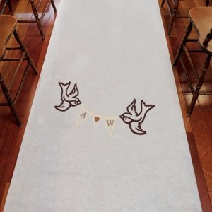 Love Birds Pennant Personalized Wedding Aisle Runner image