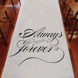'Always & Forever' White Wedding Aisle Runner image