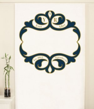 Personalized Ornate Monogram Photo Backdrop (4 Colors) image