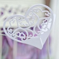 Laser Expressions Double Heart Filigree Die Cut Card