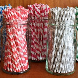Candy Striped Paper Straws (Package of 75) - Many Colors image