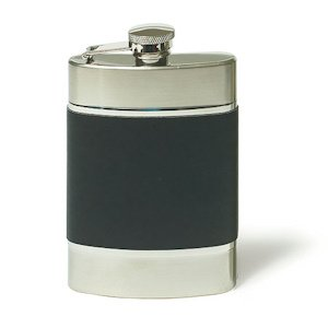 Brushed Stainless and Black Leather Flask image