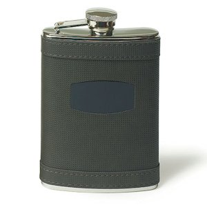 Stainless Flask Wrapped in Charcoal Grey Faux Leather image