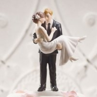 Swept Up in His Arms Wedding Couple Cake Top (Color Options)