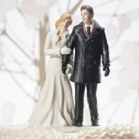 Winter Wonderland Wedding Couple Cake Top (Color Choices)