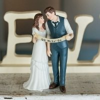 Indie Style Wedding Couple Cake Topper (Color Options)