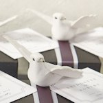 Miniature White Wedding Doves in Flight (Set of 12)