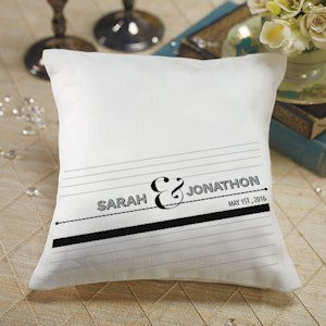 Personalized Notable Ring Pillow with Black & White Design image