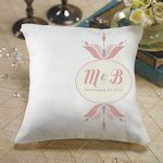 Personalized Double Floral Monogram Ring Pillow (3 Colors)