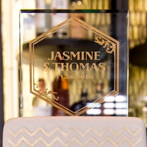 Black And Gold Opulence Personalized Cake Topper image