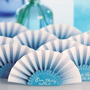 Ombre Color Paper Fan Place Cards (Set of 12) - 3 Colors image