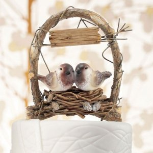 Rustic Nest Archway Love Birds Cake Topper image