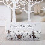 Faux Birch Log Rustic Place Card Holders (Set of 6)