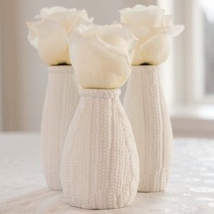 Mini Faux Knit Porcelain Vases (Set of 4) image