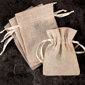 Mini Linen Burlap Drawstring Bags (Set of 12) image