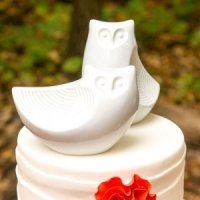 Porcelain Owl Pair Figurines Cake Topper