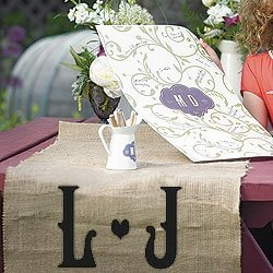 Vineyard Monogram Burlap Table Runner (2 Sizes) image