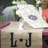 Vineyard Monogram Burlap Table Runner (2 Sizes)