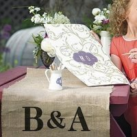 Bold Love Monogram Burlap Wedding Table Toppers