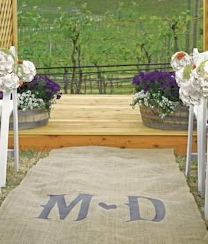 Vineyard Monogram Burlap Outdoor Aisle Runner image