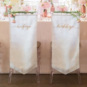 Wifey and Hubby Embroidered Chair Banner Set image