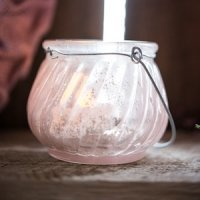 Miniature Glass Tealight Holder with Wire Hanger (Set of 6)