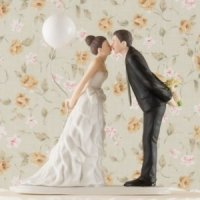Cute Balloon Kiss Couple Wedding Cake Topper