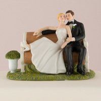 Sitting Pretty on a Park Bench Couple Cake Topper