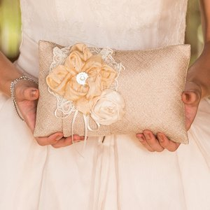 Burlap Chic Wedding Ring Pillow image
