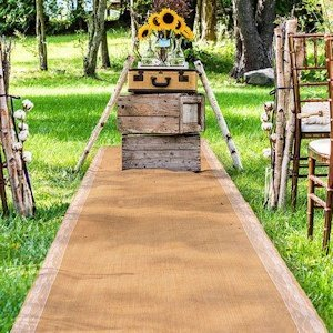 Burlap Aisle Runner with Delicate Lace Borders image