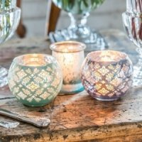 Glass Globe Holder with Reflective Lace Pattern (4 Colors)
