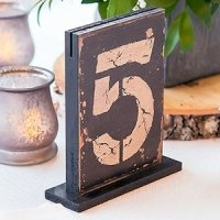 Rustic Self-Standing Wooden Table Number And Holders