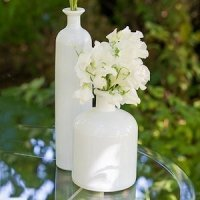 White Glass Bottle Decor Set of 3