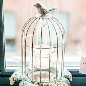 Small Metal Birdcage With Suspended Tealight Holder image