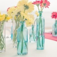 Set of 6 Oasis Blue Decorating Glass Bottles