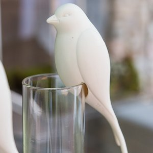 Perching White Ceramic Bird Decoration (Set of 4) image