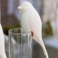 Perching White Ceramic Bird Decoration (Set of 4)