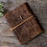 Rustic Style Leather Bound Journal Guest Book