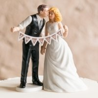 Shabby Chic Pennant Bride & Groom Mix and Match Cake Top