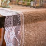 Natural Burlap Table Runner with Lace Edging (2 Sizes)
