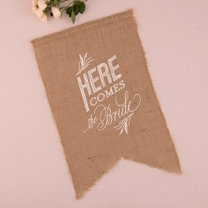 Here Comes the Bride Burlap Ceremony Sign (2 Designs) image
