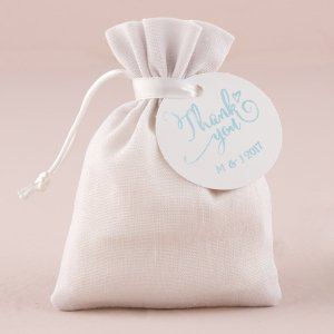 White Linen Drawstring Favor Bag (Set of 6) image